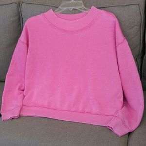 NWOT Aerie Distressed Pink Pullover Fleece Sweater